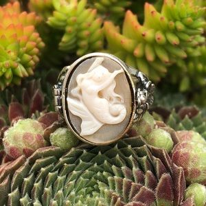 Mermaid Cameo Poison Sterling Silver Ring 6